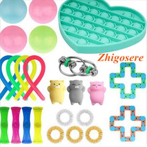 24 Stück / Set Pop It! Fidget Sensory Toy Set Autismus Stressabbau Sonderpädagogik Spielzeug