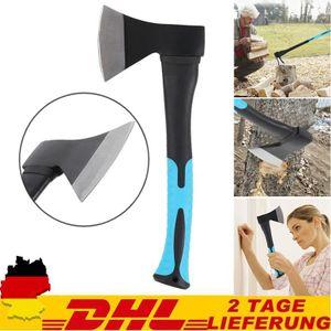 Axt 600 g - Vibrationsarmer Griff - Gummiertes Griffende - Zur Präzisionsbearbeitung von Holz / Handbeil mit Schnittschutz / Spaltbeil