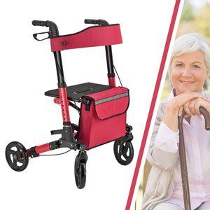 Juskys Aluminium Rollator Vital klappbar & leicht inkl. Sitz, Tasche, Bremse & Gehstock-Halterung | 6-fach höhenverstellbar | 130 kg | rot