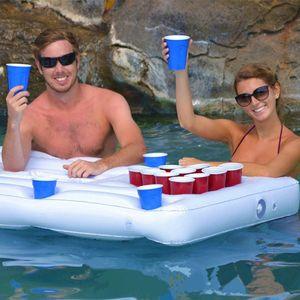 Aufblasbares Luftmatratze-Bett, Bier Pong Spiel Pool Party Float, Game Pool Table Water Floating, Getränkekühler(180cm)