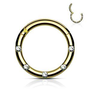 viva-adorno 1,2 x 8mm Segmentring Clicker Scharnier Septum Nasen Piercing Ring Kristall Zirkonia Z551, gold