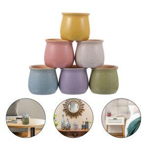 6 Stück Keramik Sukkulenten Töpfe Atmungsaktive Blumentopf Kaktus Pflanzer Tontöpfe