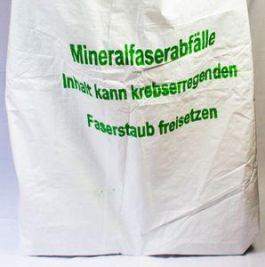 Mineralwollsäcke, KMF-Gewebesack, 140 x 220 cm, Druck Mineralwolle, unbeschichtet, Verschlussband