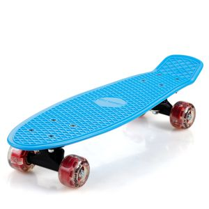 Skateboard 22' Retro Board Kickboard Cruiser Komplettboard Minicruiser Street Pennyboard LED, Farbe:blau rot + LED