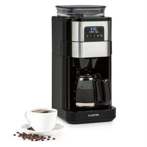 Klarstein Aromatica Taste 6 Kaffeemaschine , integriertes Mahlwerk , 70 g Bohnenbehälter , 2 / 4 / 6 Tassen , 680 Watt , 750 ml Glaskanne , Kaffeestärke: mild / stark , Kegelmahlwerk , 3 Mahlgrade , LC-Display , 24-Stunden-Timer , geräuscharm , schwarz