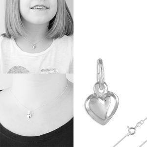 Herz Kette Silber 925: Herz Schmuck für Mädchen & Damen, Modell:Anhänger + 36 cm Kette