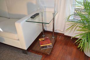 Design Beistelltisch Tisch Nussbaum / Walnuss V-270 Klarglas Glas Carl Svensson