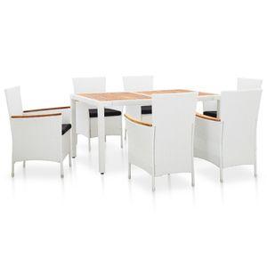 7-teiliges Outdoor-Essgarnitur Garten-Essgruppe Sitzgruppe Tisch + stuhl Poly Rattan Weiß
