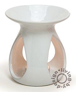 Duftlampe weiß - 11x10cm Keramik Öllampe Aromalampe Aromaspender