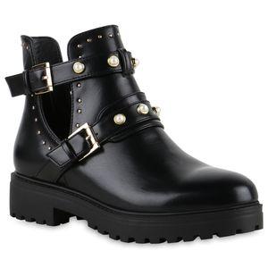 VAN HILL Damen Stiefeletten Ankle Boots Zierperlen Plateau Booties Cut Outs 825621, Farbe: Schwarz Gold, Größe: 39