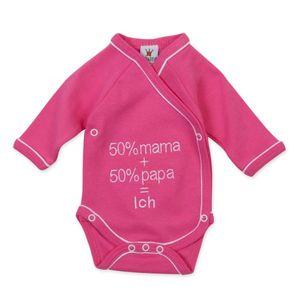 """Milarda Baby Body Wickelbody """"50% mama + 50% papa = Ich"""", pink, Gr. 50-62 Größe - 50"""