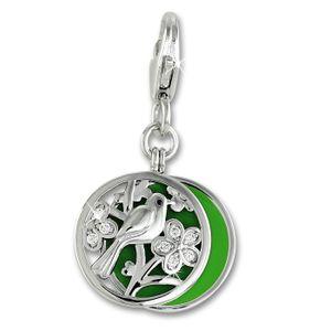SilberDream Charms Anhänger Zirkonia 925 Silber Charm Vogel grün Damen FC887G