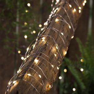 LED Solar Lichterkette 'Dew Drop' - 200 warmweiße LED - silberner Draht - L: 20m - Dämmerungssensor