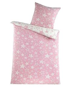2-teilig Wende Bettwäsche-Set Bett Garnitur Bettbezug Bezug 135x200 Kissenbezug 80x80 Flausch Fleece Mikrofaser NEU Warm Weich Modern Verspielt Sterne Stars Pink Rosa