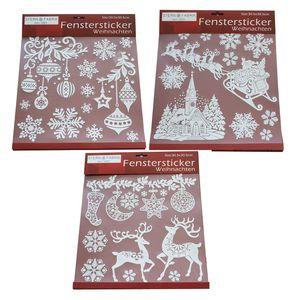 Fenstersticker Weihnachten Winter Fensterdekoration weiß/glitzer 3 Designs