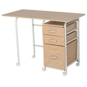 HOMCOM Mobiler Schreibtisch Aktenschrank klappbarer Computertisch Bürotisch mit Schubladen und Rollen Rollcontainer Spanplatte Metall Weiß 105 x 50 x 74 cm