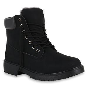 Mytrendshoe Herren Warm Gefütterte Worker Boots Profil Outdoor Winter Schuhe 819433, Farbe: Schwarz, Größe: 44