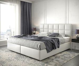 DELIFE Boxspringbett Dream-Fine Kunstleder Weiß 180x200 mit Matratze und Topper
