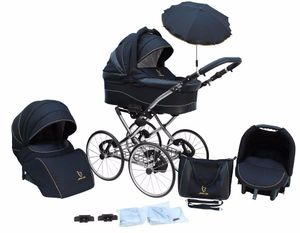 Kinderwagen AmberLine Classica Retro BLACK, 3 in 1- Set Wanne Buggy Babyschale