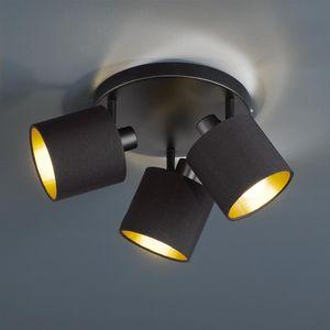 Trio Leuchten - Moderne Deckenleuchte | Deckenlampe | Lampe | Leuchte 3-flammig schwarz mit Gold | Messingene Innenseite - Tomas | Wohnzimmer | Schlafzimmer | Küche - Metall Rund - LED geeignet E14