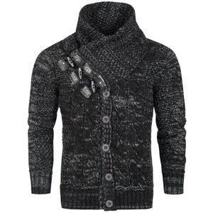 Herren Strick Pullover Grobstrick Longsleeve Shirt Norweger, Größen:M, Farben:Schwarz