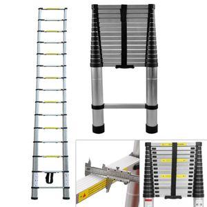 4.4m Alu Stehleiter Trittleiter Teleskopleiter Mehrzweckleiter Ausziehleiter Aluleiter Soft Close Leiter 150KG330 lbs