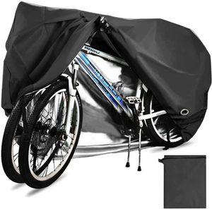 Fahrradabdeckung für 2 fahrräder wasserdichte 210D Oxford-Gewebe Atmungsaktives Draussen Fahrrad Schutzhülle mit Schlossösen Schutz, für Mountainbike und Rennrad 29 Zoll-XL (Silber)