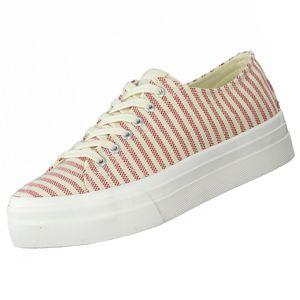 TAMARIS Damen Plateau Sneakers Beige/Rot, Schuhgröße:EUR 39
