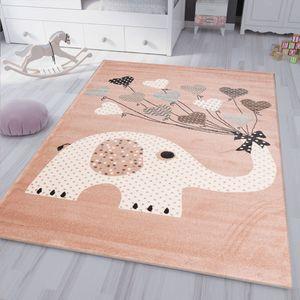 Kinderteppiche Herzen mit Ballons Elefant   Kinderteppich für Mädchen und Jungs   Teppich für Kinderzimmer   Schadstofffrei, Maße:120x170 cm
