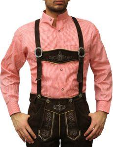 Trachtenhemd mit Stehkragen für Trachtenlederhosen ROT/kariert, Größe:2XL