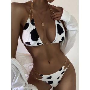 Women Floral Cows Print Bikini Set Push-Up Swimsuit Beachwear Padded  Swimwear Größe:S,Farbe:Schwarz