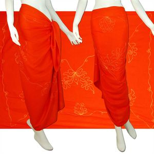 Sarong Pareo Wickeltuch Wickelrock Batik Strand Tuch in weicher  /1201 Orange