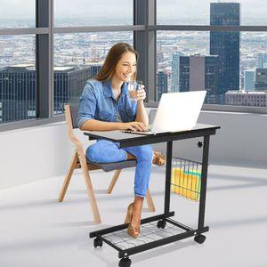 Beistelltisch auf Rollen Nachttisch Mobiler Sofatisch Abstelltisch 60-80cm Höhenverstellbar