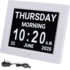 8 Zoll Digitale Kalender und Seniorenuhr Foto-Funktion - Digitale Uhr, Wecker, Kalender für Senioren & Demenzkranke (z.B. Alzheimer) mit Erinnerungsfunktion