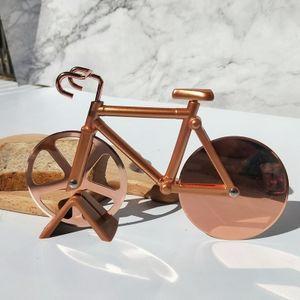 Fahrrad Pizzaschneider Doppel-Edelstahl-Pizzamesser Superscharfe Klingen Küchenhelfer Partyzubehör (Golden)