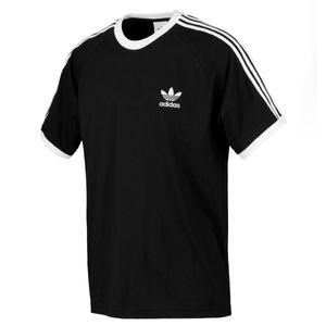 adidas 3 Stripes Tee Herren T-Shirt Schwarz, Größe:L