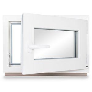 Neruli Kellerfenster Kunststoff Weiß Dreh-Kipp Glasdichtungen Grau, 2-fach verglast, DIN Rechts, 60x40 cm