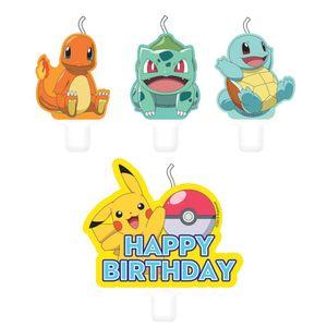Pokémon geburtstagskerzen 6 cm 4 Stück mehrfarbig