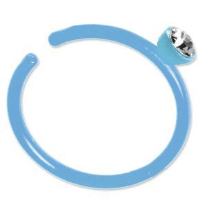 viva-adorno Fake Piercing Nasenring Nasenpiercing Clip on Acryl Zirkonia in verschiedenen Farben Z503,hellblau