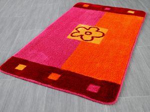 Pacific Badteppich Maui Orange Pink Blumen in 5 Größen, Größe:47x50 cm WC-Deckelbezug (uni)