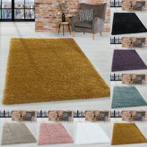 Hochflor Shaggy Teppich Wohnzimmerteppich Schlafzimmer Flor Super Soft Einfarbig, Farbe:Gold, Grösse:160x230 cm