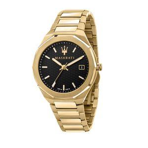 Maserati Herren Uhr, STILE Kollektion, Quarzwerk, Zeit und Datum, aus Edelstahl, Gelbgold PVD - R8853142004