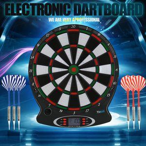 """15"""" Elektronisch Dartscheibe Dartautomat Dartboard Dartspiel Dartpfeile mit 6 Darts LCD Scoring Display"""