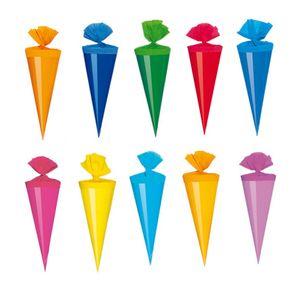 100 Deko Schultüten / Länge: 12cm / 10 verschiedene Farben