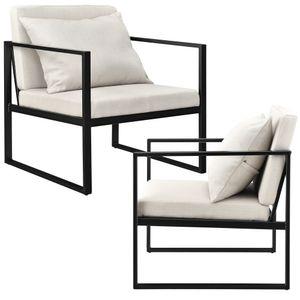 Sessel mit Rückenkissen im 2er Set - Sandfarben - Eisengestell - 70 x 60cm  [en.casa]