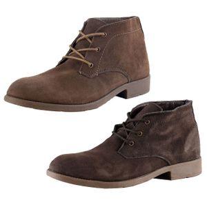 MARIO BUCELLI Herren Echt-Leder Boots Stiefeletten Freizeit Beruf, Farbe:Dunkelbraun, Größe:43