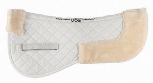 USG Kunstfell Sattelunterlage Sattelpad Sattel Unterlage Baumwolle Webpelz Acryl, Farbe:weiß