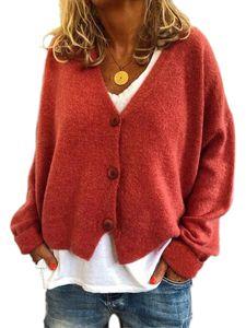 Damen Frauen Cable Knit Cardigan Button Langarm Grandad Plus Größen,Farbe: Orange,Größe:L