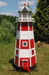 XXL Leuchtturm mit 230 V LED Beleuchtung, sparsam, rot - weiß, 1,40m XXL