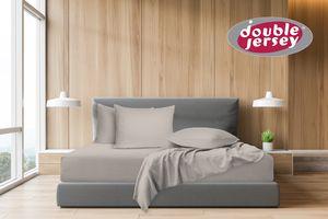 Double Jersey - Spannbettlaken 100% Baumwolle Jersey-Stretch, Ultra Weich und Bügelfrei, 90x200+38 Perlgrau
